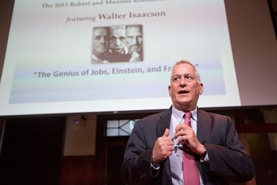 "The history of science in the 21st century will likely be dominated not by ""lone geniuses,"" said Walter Isaacson, but by collaboration and by ""collective, applied imagineering."" During a talk at Radcliffe, Isaacson explored the genius of three transformative men — Benjamin Franklin, Albert Einstein, and Steve Jobs — unraveling both their intellectual brilliance and their common desire to help change the world."