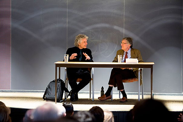 """Asked by Howard Gardner (right) what had surprised him most about his career, Steven Pinker said he hadn't expected to cover such a variety of topics. """"I'm more of a magpie, trying to select ideas that I think are worth defending,"""" he said."""