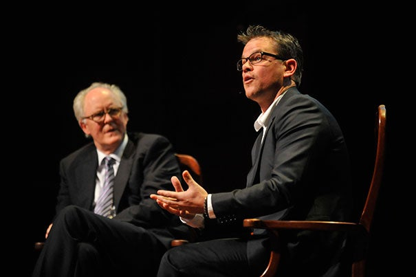 Actors Matt Damon (right) and John Lithgow '67 had a spirited discussion at Sanders Theatre about their craft during a session that kicked off Arts First, the University's annual spring celebration of the arts. Damon is this year's recipient of the Harvard Arts Medal.