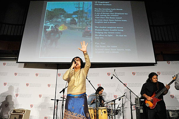 """A performance by Quetzal, the Grammy Award-winning East Los Angeles band, kicked off """"Crossing Borders:  Immigration and Gender in the Americas,"""" a two-day conference at Radcliffe last week."""