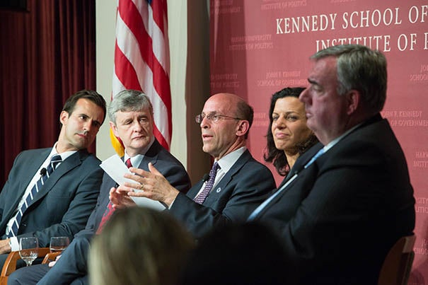 "A panel at the John F. Kennedy Jr. Forum examined the interplay of law enforcement coordination, leadership, and social and traditional media during the Boston Marathon bombing investigation. ""Boston Marathon Tragedy & Aftermath"" featured David Wade (from left), David Hempton, Kurt Schwartz, Juliette Kayyem, and Edward Davis."