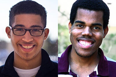 Joshua Scott (left) and Alexander Moore are the 2013 Hill-Stephens Scholars, an honor awarded to two African-American sophomores or juniors at Harvard College.