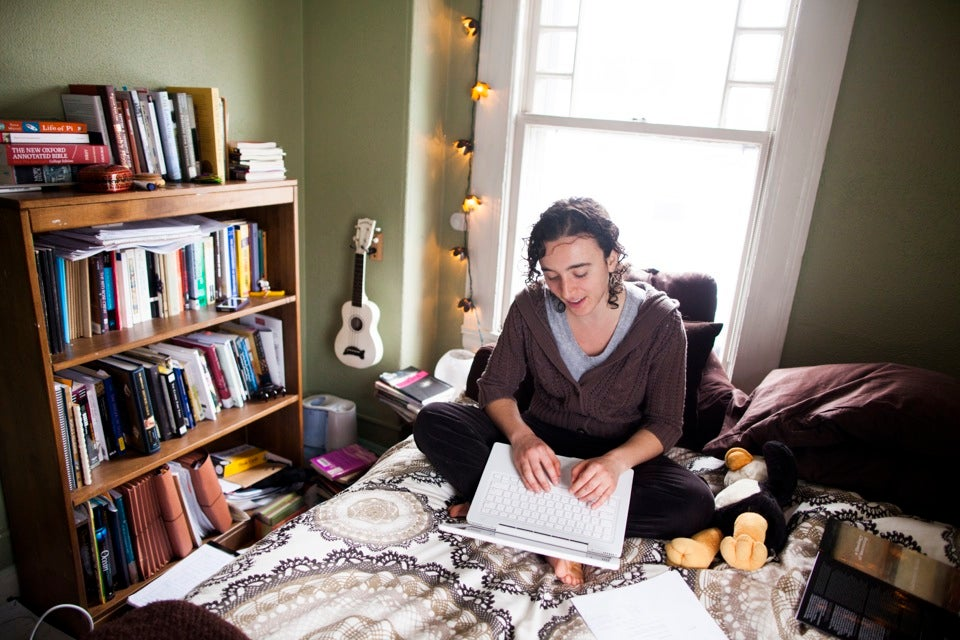 Devi K. Lockwood '14, a folklore and mythology concentrator, is originally from Ridgefield, Conn. Despite the occasional loud music from the kitchen below, Devi finds her space inviting, relaxing, warm, and cozy.