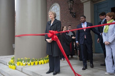 """This week, more than ever, we have recognized the force, strength, and necessity of community,"" said President Drew Faust during the opening of a new common space called the Porch, formerly known as the steps of the Memorial Church."