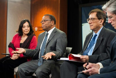Speaking at The Forum at Harvard School of Public Health, Countess Albina du Boisrouvray (from left), Timothy Thahane, Sudhir Anand, and Julio Frenk discussed childbirth as an area bypassed by recent efforts to improve health outcomes among children.