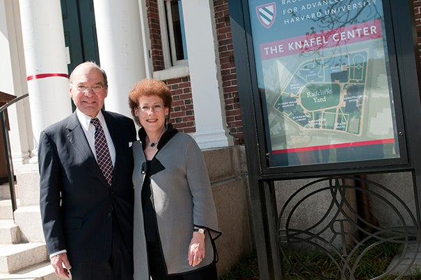 "Sidney R. Knafel (left) joined Radcliffe Dean Lizabeth Cohen to announce the renaming of the Radcliffe Gymnasium to the Knafel Center. ""It's a pretty simple proposition for me,"" Knafel said of his generosity to and involvement with the institute. ""A stronger Radcliffe contributes to a stronger Harvard."""