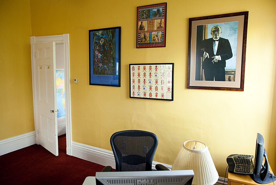 In Warren House, John L. Loeb Professor of Germanic Languages and Literatures Maria Tatar resides in a cheerful, yellow office decorated with colorful posters, including a print of the tuxedoed self-portrait by Max Beckmann from the Sackler Museum collection.