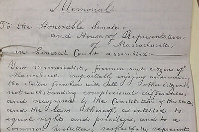 Led by John T. Hilton and signed by 11 prominent freemen of color in Boston, this petition is in reaction to the U.S. Supreme Court's 1857 Dred Scott decision. (1858)