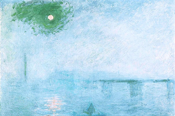 "Claude Monet, ""Charing Cross Bridge: Fog on the Thames"" (1903). Proust saw Impressionists as artists in the best sense: those who break convention. They also embodied his love of the natural world, a place of solace and memory. Courtesy of Harvard Art Museums/Fogg Museum, Gift of Mrs. Henry Lyman"
