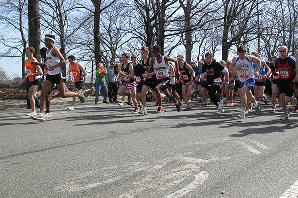 Harvard On The Move runners were among those who came out for the 27th annual Marathon Sports Cambridge City Run, a five-mile road race or three-mile walk.