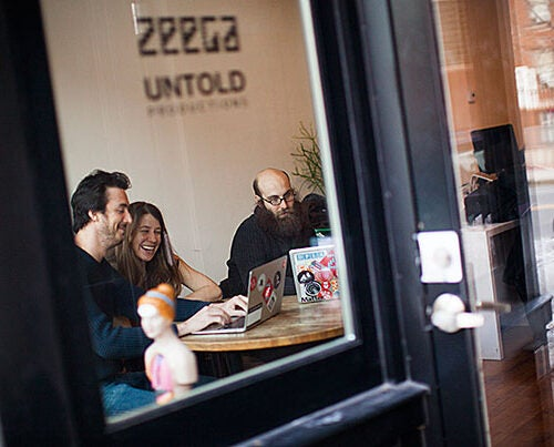 A crop of new classroom and learning spaces across the University is helping to transform teaching and learning, while serving as important models of collaboration. One such collaboration resulted in Zeega, a software platform and social network devoted to digital storytelling. James Burns (from left), Kara Oehler, and Jesse Shapins are co-founders of the software platform.