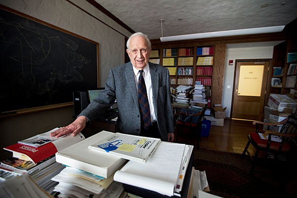 """Nobel laureate Roy Glauber, who had entered Harvard in the fall of 1941 at the age of 16, reflected on his two years in Los Alamos, N.M., during World War II as part of the Manhattan Project. """"I decided I had come into another world entirely,"""" Glauber said. """"God only knows what they were doing up there."""""""
