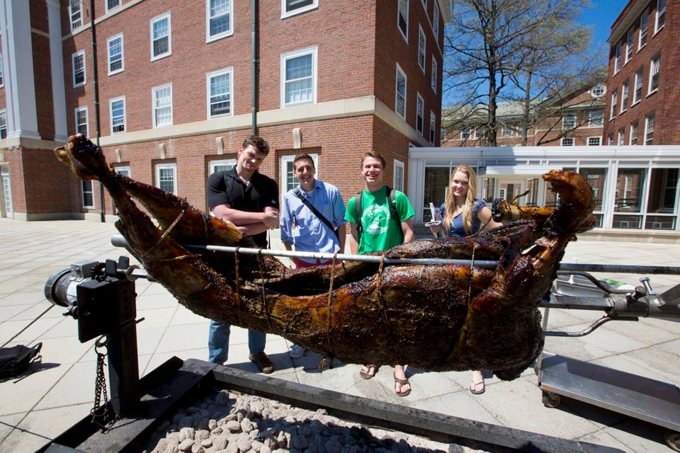 Christopher Valenti (from left), Peter Grogan, Henney Sullivan, and Nicola Maasdorp watch as the lamb is roasted.