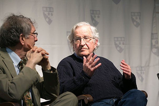 Noam Chomsky (right) was joined by Hobbs Professor of Cognition and Education Howard Gardner at the Harvard Graduate School of Education. Chomsky spoke on the legacy of the radical Brazilian educator Paulo Freire.