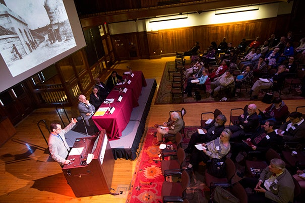 """""""Freedom Rising,"""" a three-day conference in Boston and Cambridge, marked the 150th anniversary of the Emancipation Proclamation and celebrated African-American service in the Civil War. During a Harvard symposium on May 3, Professor John Stauffer (at podium) anchored a panel on the art and music of emancipation."""