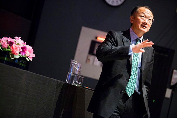 """""""It's the first time in history that the world has said we can end poverty as we know it,"""" Jim Yong Kim, president of the World Bank Group, told his Harvard audience."""