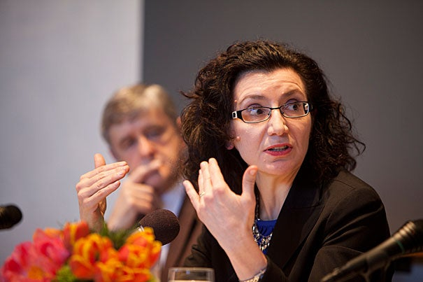 "Harvard Divinity School's Jocelyne Cesari said that despite some misleading press reports, the Islamic community is not responsible for radicalism. Instead, she said, ""It's a good way to prevent"" it. ""Mosques in the United States,"" she said, ""are intolerant of radicalization."" The HDS lecturer was among the five panelists who discussed ""Religion and Terror."""