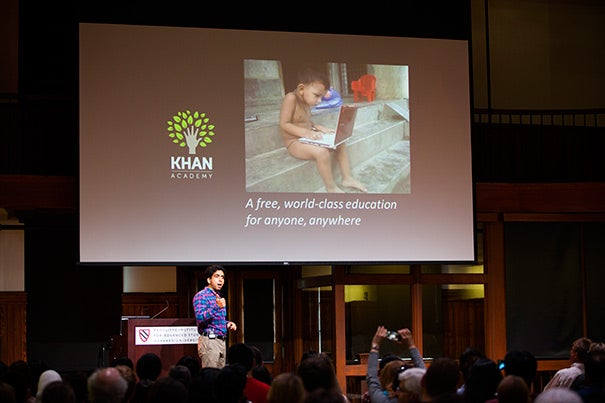 Salman Khan's nonprofit, Khan Academy, offers, at no cost, entertaining and informative videos, online lessons, and interactive software tools that he hopes will help transform teaching and learning.