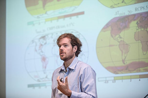 """Professor of Earth and Planetary Sciences Peter Huybers spoke at """"2013 Humanitarian Action Summit: Climate and Crisis,"""" which included an overview of climate change as well as talks on climate change and food security, conflict and migration, humanitarian aid, climate predictions, and related initiatives in humanitarian organizations."""