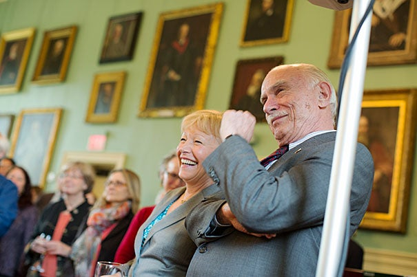 Michael Shinagel was recognized as the longest-serving dean in Harvard history during his retirement celebration at the Faculty Club. Shinagel will leave his post as dean of continuing education and University Extension at the end of the academic year.