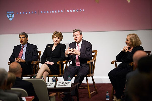 "Gerald C. Chertavian (from left), Mary L. Fifield, Gregory Bialecki, and Rosabeth Moss Kanter discussed ""U.S. Competitiveness: Paths Forward,"" an HBS initiative, which included an appearance by Boston Mayor Thomas M. Menino, who was brought in by wheelchair but rose to his feet to speak about how the city could be a model for the nation."