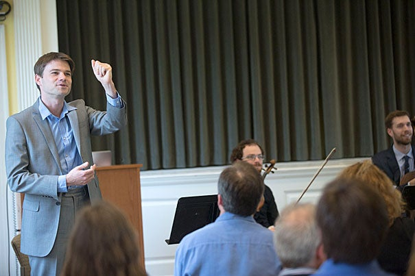 Former Radcliffe Fellow and composer John Aylward returned to campus with his ensemble ECCE to conduct a work commissioned for the conference.