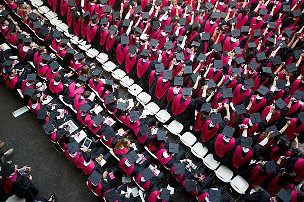 At Morning Exercises, chairs in Tercentenary Theatre filled quickly as the graduates readied for Harvard's 362nd Commencement.