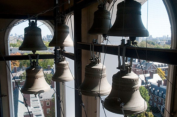 The bells in Lowell House tower are among those rung throughout Cambridge to signify that Morning Exercises have finished.