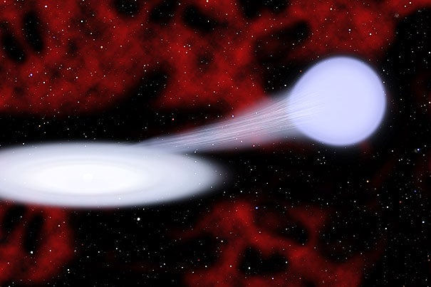 An artist's conception shows an EX Hydrae or a normal star (right) and a white dwarf (left, at center of disk). Using the Ex Hydrae as the target, the data gathered was put into a program and converted into musical notes.