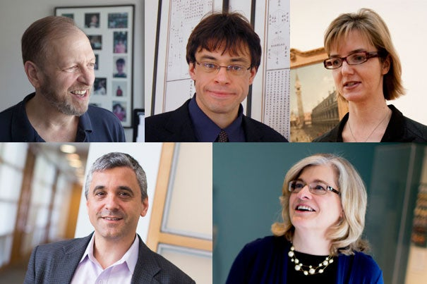 The five faculty to be honored with the prestigious title Harvard College Professor include Joseph D. Harris (clockwise from top left), Michael Puett, Jennifer L. Roberts, Maryellen Ruvolo, and Steven R. Levitsky.