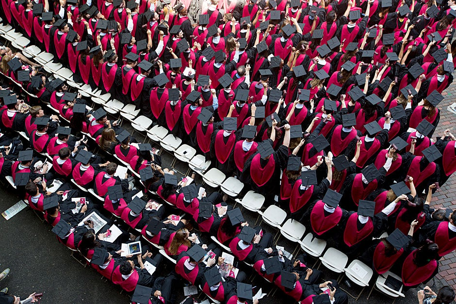 A sea of crimson robes and Commencement caps. Congratulations Class of 2013! Rose Lincoln/Harvard Staff Photographer