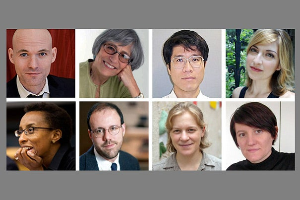 Sean Graney (top row, from left), Linda Gordon, Tadashi Tokieda, Julie Orringer, Claudine Gay (bottom row, from left), Michael Kremer, Jennifer Hoffman, and Lucia Allais are among the 49 fellows selected by Radcliffe to pursue projects across the arts, humanities, sciences, and social sciences.