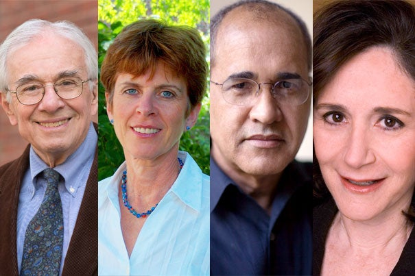 Everett Mendelsohn, Ph.D. '60 (from left), Louise Richardson, Ph.D. '89, Arnold Rampersad, Ph.D. '73, and Sherry Turkle, A.B. '69, Ph.D. '76, are receiving the Centennial Medal from the Graduate School of Arts and Sciences.