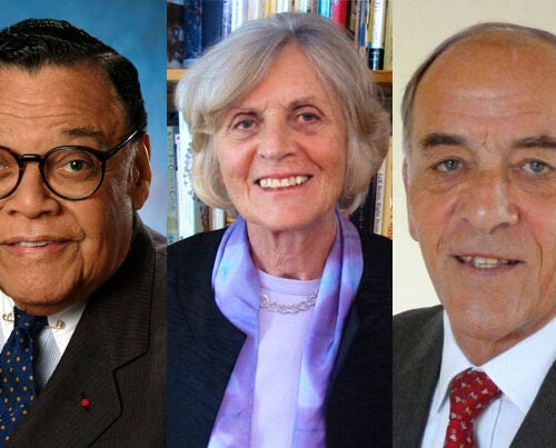 William Thaddeus Coleman Jr. (from left), Georgene Botyos Herschbach, and James V. Baker are the recipients of the 2013 Harvard Medal.