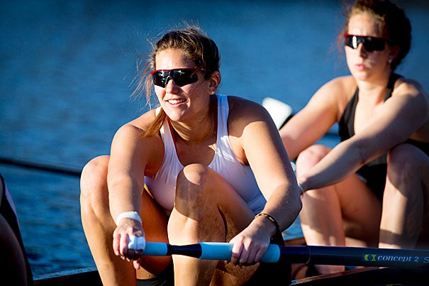 All-American Crimson rower Courtney Diekema, a graduating senior, is hoping for a spot on the under-23 U.S. women's crew and perhaps in the Olympics, even as she gets ready for duty as a lieutenant in Air Force intelligence.