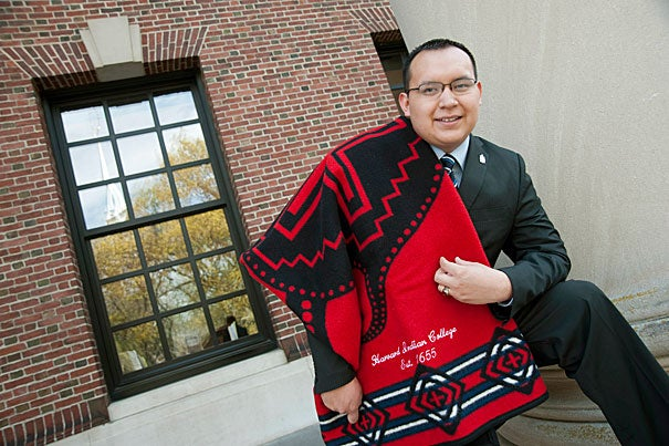 """""""Harvard's broadened my worldview and made me more appreciative of culture in general, it's reaffirmed and strengthened my personal commitment and views both to my Native American and Hispanic side …  and it's just made me more worldly, in academia and with people,"""" said Cesar Alvarez '13."""