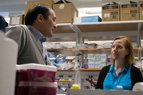 A finding by Richard T. Lee (left), a Harvard Medical School professor at Brigham and Women's Hospital, and Amy Wagers (right), a professor in Harvard's Department of Stem Cell and Regenerative Biology, ultimately may rewrite our understanding of aging.