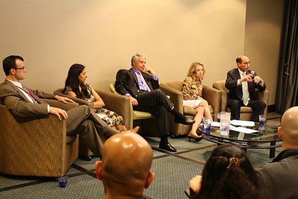W. Scott Butsch (from left), Nadia Ahmad, Louis Aronne, Caroline Apovian, and Lee M. Kaplan participated in an HMS-MGH forum looking at obesity in the U.S.