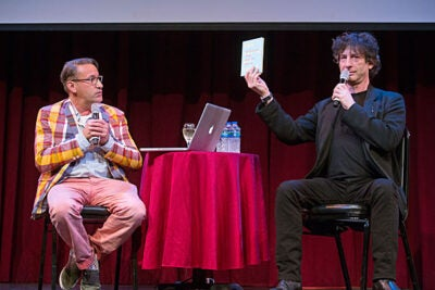 Designer Chip Kidd (left) challenged himself to make art of the text — no images — in working with Neil Gaiman on a book version of a commencement speech the author gave in 2012.
