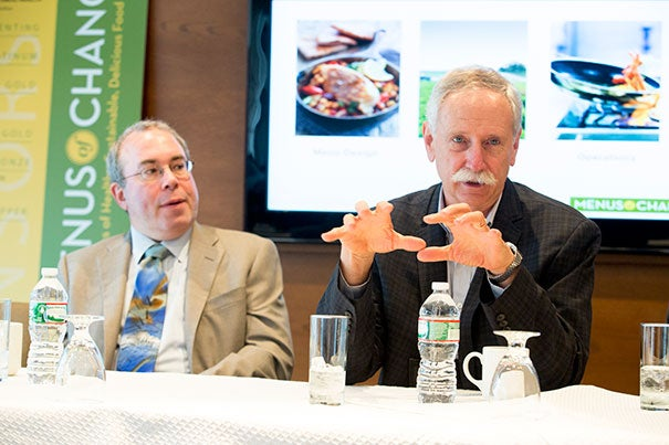 "The three-day leadership summit ""Menus of Change: The Business of Healthy, Sustainable, Delicious Food Choices"" featured a broad spectrum of speakers. Harvard School of Public Health's Walter Willett (right) said the American diet has improved ""but everyone does need to redouble their efforts."" Arlin Wasserman, founder of Changing Tastes, a consulting group to Fortune 100 food companies, said Americans now spend 60 cents of each dollar eating out and buying prepared foods, rather than buying ingredients to prepare meals at home."