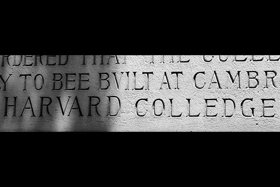 """A plaque just outside Johnston Gate details the founding, funding, and naming of Harvard """" Colledge"""" by the General Court of Massachusetts Bay. Rose Lincoln/Harvard Staff Photographer"""