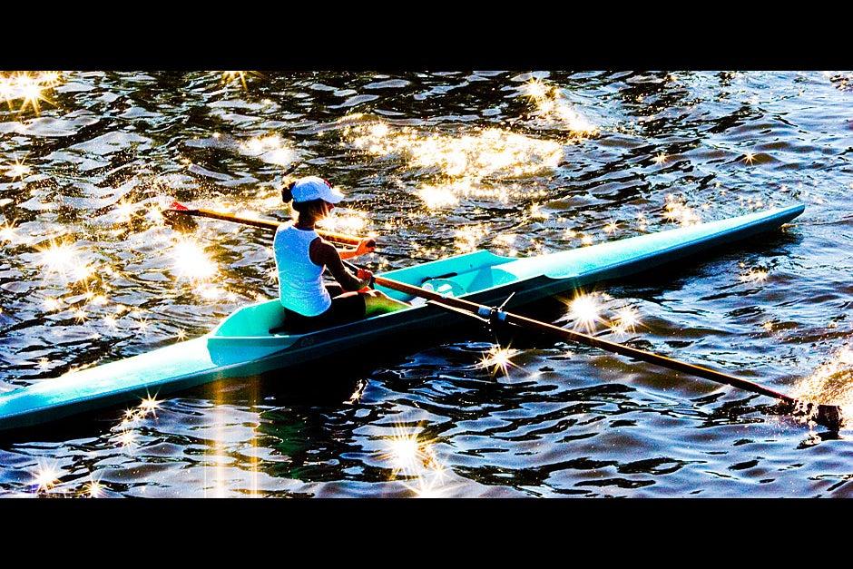 Sun speckles illuminate this rower under Weeks Bridge. Rose Lincoln/Harvard Staff Photographer