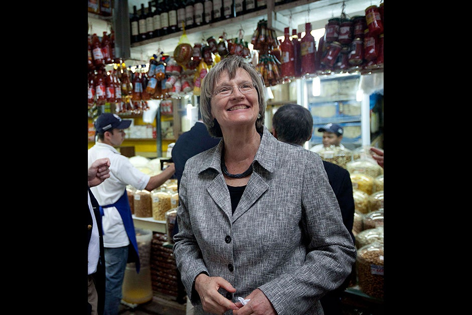 March 23, 2011. Harvard President Drew Faust visits the Mercado Municipal Market in São Paulo, Brazil. Photo by Kris Snibbe/Harvard Staff Photographer