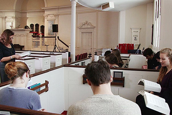 "To bring her online modules on American poetry to life, Professor Elisa New took advantage of Harvard's magnificent surroundings (in this case, Memorial Church) and coaxed some of her talented students to ""sing"" the verses of colonial era poet Edward Taylor. New is using multimedia to convey how, for Taylor, who wrote in strict, formal structures, poetry was a kind of apparatus to be used in the same way that gymnasts and weightlifters use uneven bars and weights."
