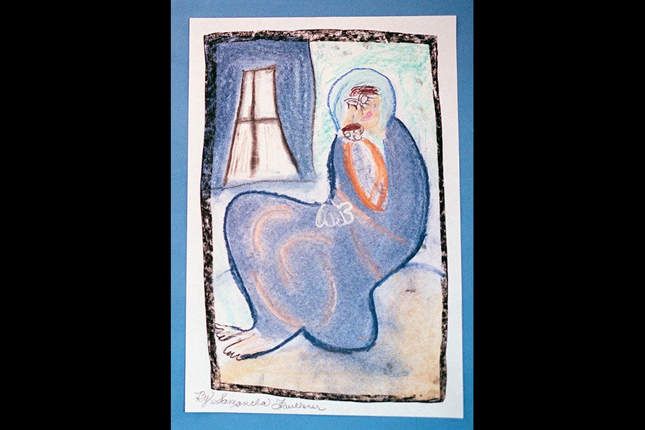 """Samantha Faulkner was inspired by Picasso's """"Mother and Child"""" when she drew this picture and wrote, """"A mother and son Sleeping together Maybe forever Gentle mother caring son Shades of blue Faces as pale as the moon …"""" Stephanie Mitchell/Harvard Staff Photographer"""