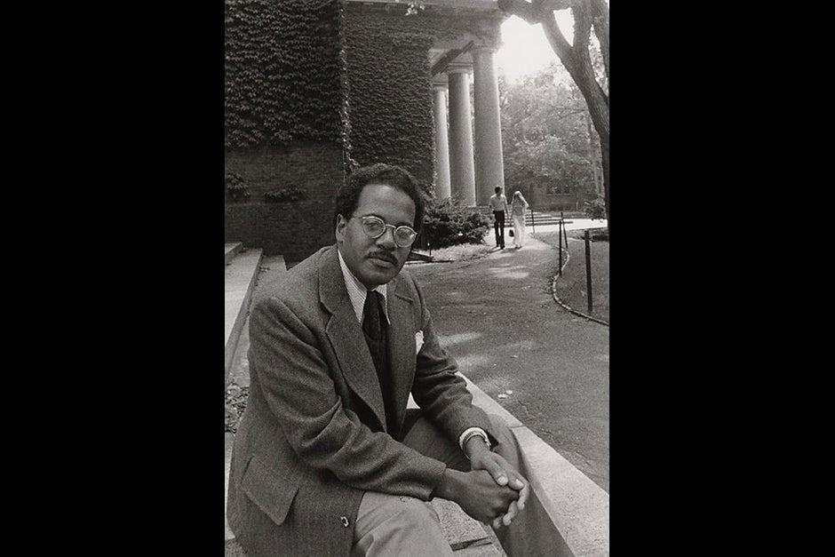 Portrait of Rev. Peter J. Gomes outside of Memorial Church in 1974. Photo courtesy of Schlesinger Library, Radcliffe Institute, Harvard University