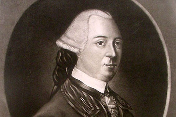 Mezzotint engraving of John Hancock, first published in England in 1775. Source: Antiquarian Booksellers' Association of America