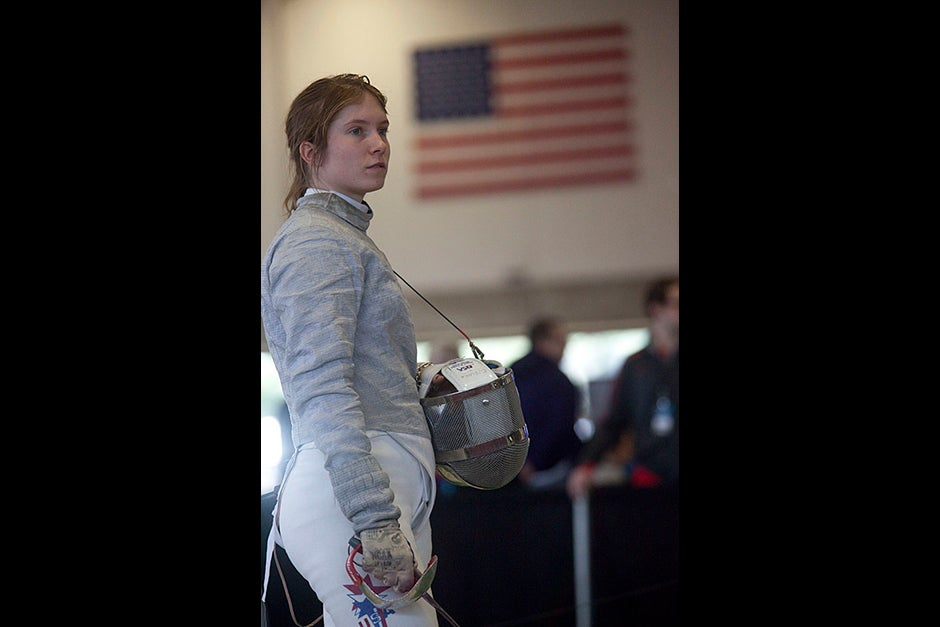 If looks could kill. Caroline Vloka '12 puts down her sword. Kris Snibbe/Harvard Staff Photographer