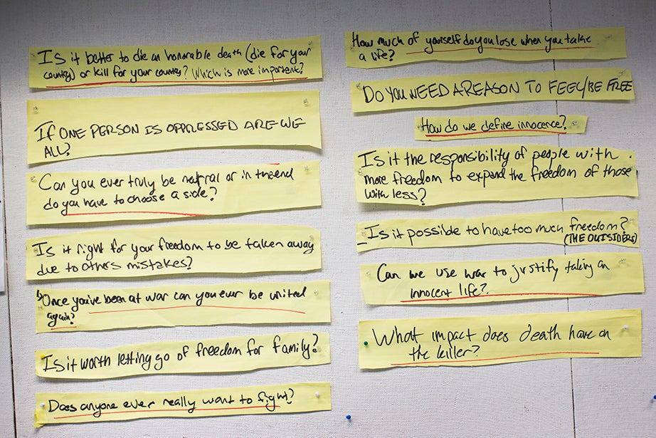 A detail of just some of the questions debated on with student collaborators at the Alliance Theatre in Atlanta.