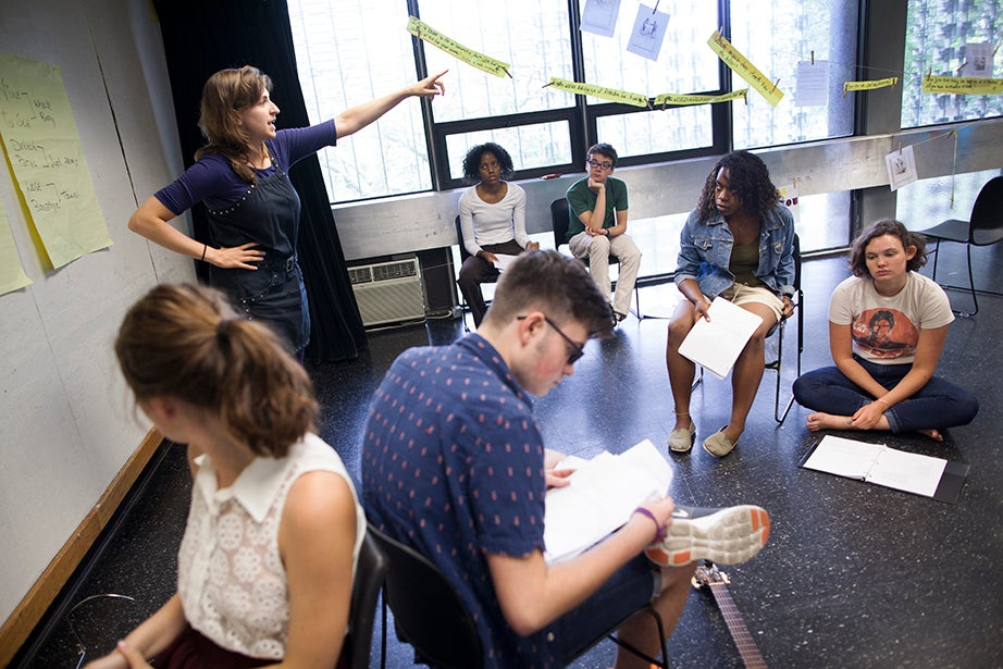 Artistic Director Fellow at the A.R.T. Shira Milikowsky (left) directs her troupe.